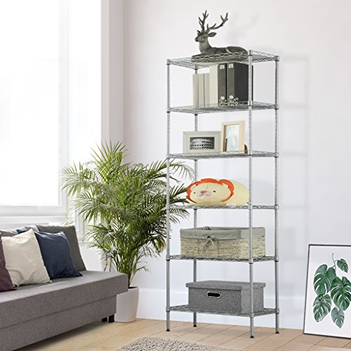 LANGRIA 6 Tier Wire Shelving Unit Organization and Storage Rack with 5 Hooks,Silver (Metal Shelf Interlocking)