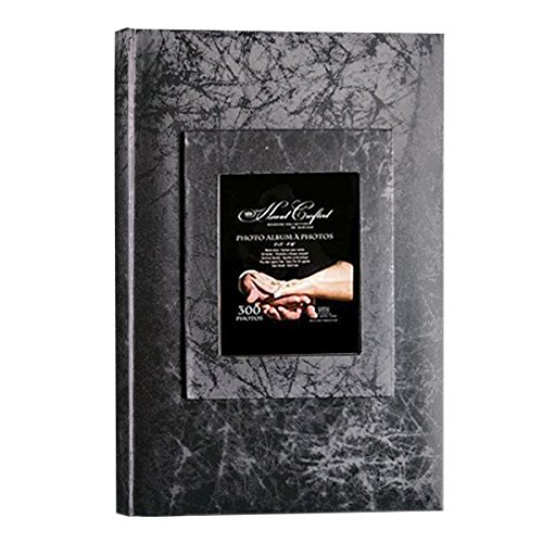 """(KVD Kleer-Vu Deluxe Albums, Wedding Album Collection, Holds 300 """"4X6"""" Photos, 3 Per Page, Jacquard Textured, Window Frame Cover,)"""
