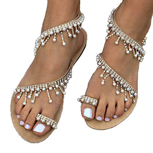 (Fashion Women Beaded Sandals Summer Shoes Party Sexy Pearl Flat Bottom Sandals Summer Comfort Shoes Brown)
