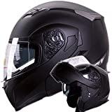 IV2 Matte Black Dual Visor Modular Flip-Up Motorcycle Adventure Touring Helmet [DOT] - Medium