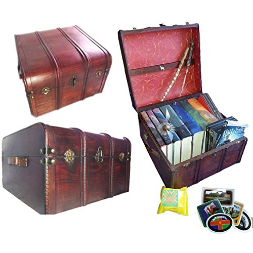 Hogwarts Wooden Steamer Trunk - Patronus Edition (Wand From Harry Potter)