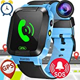 1.44'GPS Tracker Kids Smartwatch Phone for Girls Boys with Pedometer Fitness Tracker SOS Calls Anti-lost Smart Watch Wristband Christmas Birthday Gifts (Blue)