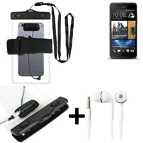 Estuche estanco al agua con entrada de auriculares para HTC Butterfly S + auricular incluido, transparente | Trotar bolsa de playa al aire libre caja brazalete del teléfono caso de cáscara bajo playa