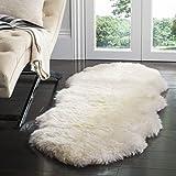 Safavieh Sheepskin Collection SHS211A Genuine Sheepskin Pelt Handmade White Premium Shag Runner (2' x 6')
