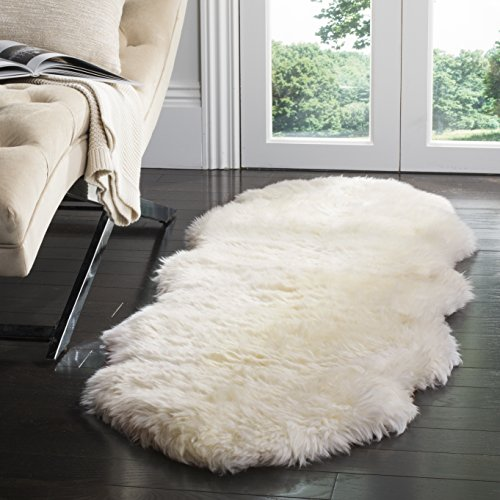 - Safavieh Sheepskin Collection SHS211A Genuine Sheepskin Pelt Handmade White Premium Shag Runner (2' x 6')