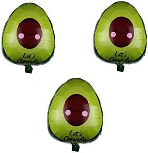 3 PCS Mexican Avocado Fruit Foil Balloons for Mexican Food Festival Party Baby Shower Birthday Party Wedding Party Decorations