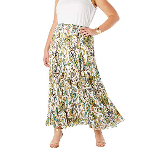 Jessica London Women's Plus Size Cotton Crinkled Maxi Skirt - Multi Paisley, 16