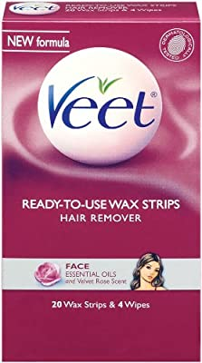 Amazon Com Veet Cold Wax Strips Face 20 Wax Strips And 4 Wipes Pack Of 2 Beauty Tools And Accessories Beauty