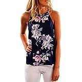TIFENNY Women Sleeveless Flower Printed Casual Blouse Vest Top, (S, Dark Blue)