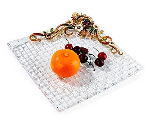 RORO Wedding Gift, Enameled and Jeweled Bohemia Crystal Snail Fruit Plate, Swarovski Decoration, Luxury Home Accessories