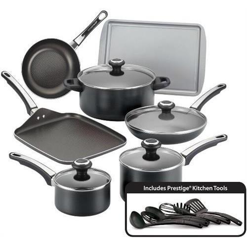 Farberware 21809 High Performance 17 Piece Nonstick Cookware Set, Black