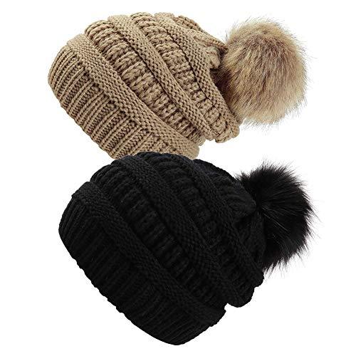 Yetagoo Slouchy Winter Knit Beanie Cap Chunky Faux Fur Pom Pom Hat Bobble Ski Cap (Black/Khaki 2pc)