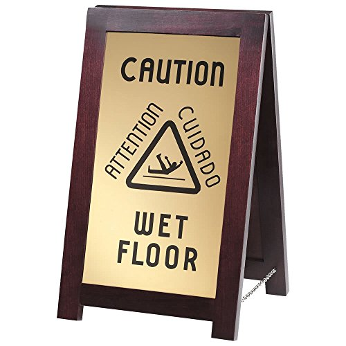 851-WET 2-Sided Wooden WET FLOOR Sign By TableTop King by TableTop King