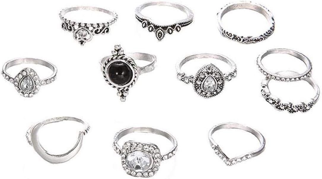 hvxjxk Anillo Luna Mujeres De Moda Retro Diamantes De Cristal De Cristal Combinaciones Regalo para Señoras De Las Muchachas De Plata Antiguo 1 Set