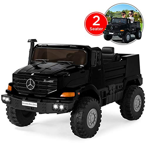 Best Choice Products Kids 24V 2-Seater Officially Licensed Mercedes-Benz Zetros Ride-On SUV Car Truck Toy w/ 3.7 MPH Max, LED Headlights, FM Radio, Trunk Storage, AUX Port, Horn, Sounds - Black -