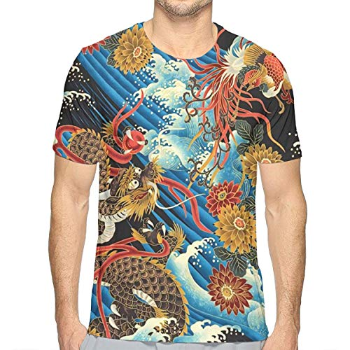 Eastern Chinese Style Dragon Phoenix Sea Wave Mens 3D Novelty T Shirts Funny Graphic Tees Crewneck Short Sleeve Summer Top White