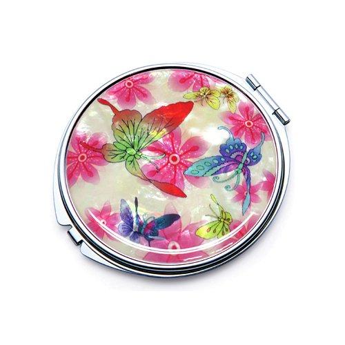 incrustation en nacre Blanc Motif Papillon Comestic Unique Poche Maquillage Compact double miroir (L) Fun-Store