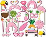 Pink Flamingo Fun Photo Booth Props Kit - 20 Pack Party Camera Props Fully Assembled