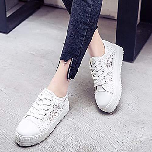 Primavera Di TTSHOES Autunno EU36 CN36 UK4 Nero Comoda US6 Sneakers Pizzo Piatto Donna Scarpe White Per Bianco tXrRwX