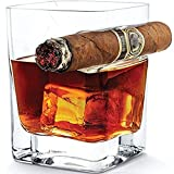Staraxy Whiskey Glass with Cigar Holder Transparent 320ML