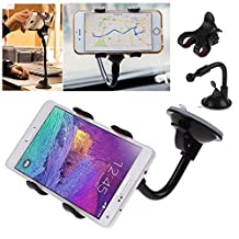 Universal Car Mount Smartphone Cradle Holder for Any Cell Phones and GPS Devices - (Car Windshield Gooseneck Mount)