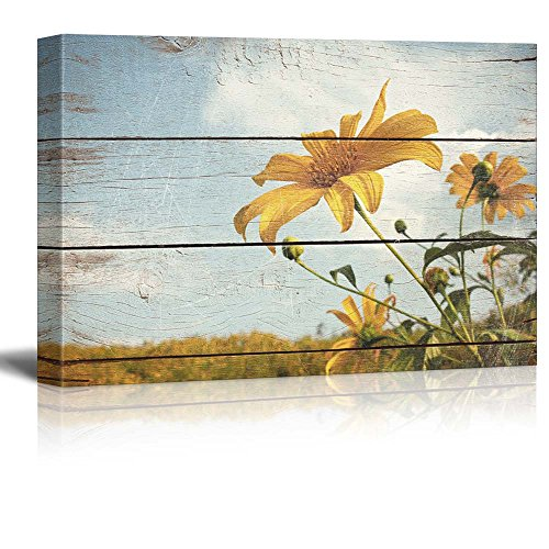 wall26 Wildflowers in a Field - Rustic Floral Arrangements - Pastels Colorful Beautiful - Wood Grain Antique - Canvas Art Home Decor - 16x24 inches