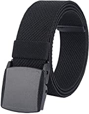 """Men's Elastic Stretch Belts, Webbing Canvas Sports Belt for Men Women with Plastic Buckle for Outdoor Work Travel Golf, Adjustable Casual Belts for Pants Size Below 46 inches [49""""Long 1.5""""Wide]"""