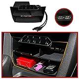 KFZMAN Center Dash Organizer Box for 10TH Gen Honda Civic, Center Console Storage Box Tray with Dual USB Outlet for Honda Civic Sedan 2016 2017 2018 2019 2020, Black, 3 Compartment