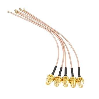 Cable Coaxial, Akozon 5Pcs SMA Hembra a u.FL/IPX/IPEX Conector