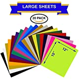 """Heat Transfer Vinyl Assorted Colors Starter Pack- 20 Sheets - 12"""" x 15"""" HTV Bundle Iron on for DIY T Shirts, Hats, Clothing for Silhouette Cameo, Cricut, or Heat Press Machine Tool"""