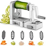 #5: Gourmia GSS9615 Foldable 5 Blade Spiralizer Vegetable Slicer – 5 Stainless Steel Blades for Thick and Thin Pasta Spirals - No-Skid Suction Feet - Storage Container - BPA Free