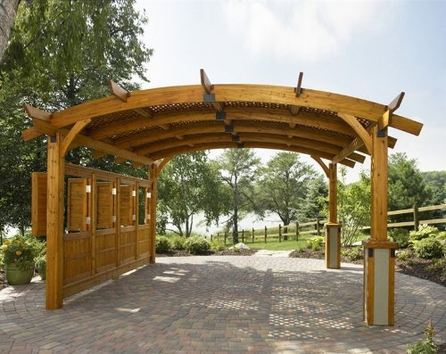 Sonoma Arched Wood Pergola 16x16 Redwood by The Outdoor GreatRoom Company