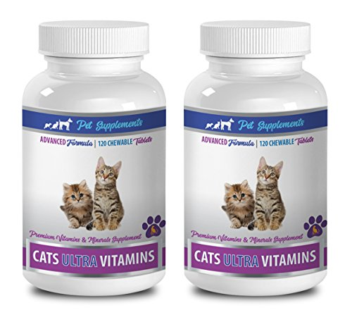 cat vitamins and supplements senior - CATS ULTRA VITAMINS - PREMIUM VITAMINS AND MINERALS - CHEWABLE - cat mineral supplement - 2 Bottle (240 Chews)