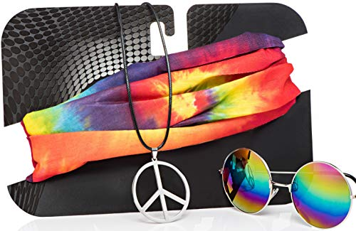 Theme To Halloween (Hippie Costume Set for Women & Men. Kit Includes Sunglasses, Peace Sign Necklace & Headband to Make You The Hit of The Party)