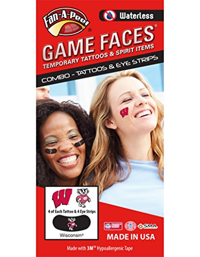 Wisconsin Badgers Ncaa Peel - University of Wisconsin (UW) Badgers – Waterless Peel & Stick Temporary Tattoos – 12-Piece Combo – 4 Cardinal W Logo & 4 Bucky Badger Logo Spirit Tattoos & 4 Bucky Badger Logo on Black Eye Strips