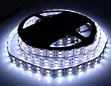Memo Best 16.4FT/5M Double Row 5050 SMD 600 LED Strip Lamp DC 12V Pure White