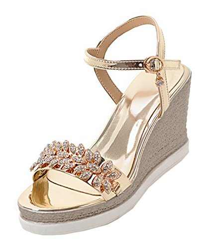 YE Damen Offene Keilabsatz High Heels Plateau Glitzer Sandalen mit Riemchen und Schnalle Strass Modern Schuhe Gold