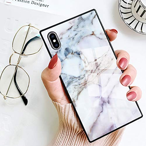 BestCasee Marble Square Case for iPhone Xs Max, Retro Classic Stylish Soft TPU and Hard PC Shockproof Cover Case for iPhone Xs Max 6.5 Inch(2018)
