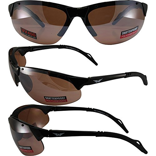 Global Vision T-5 Sunglasses Gloss Black Frames with Driving Mirror - Sunglasses Fives