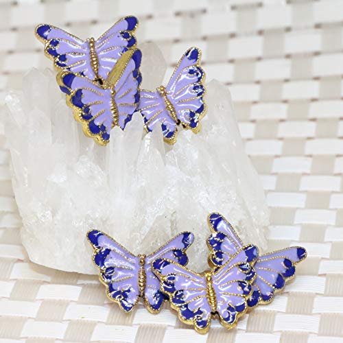 (Calvas 1722mm Gold-Color Light Purple Butterfly Shape Cloisonne Pendant Accessories spacers Beads hot Sale Jewelry Making 5pcs B2391)