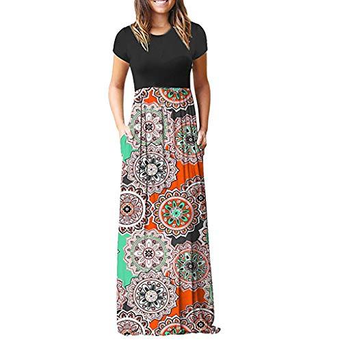 Long Dress, Women's Maxi Dress Floral Printed Autumn Short Sleeve Casual Tunic Long Maxi Summer Beahch Dress (Pink, M) -