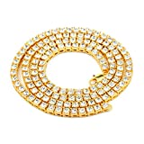 Fairy Whisper 14K Gold Plated Hip Hop Crystal Rhinestone Tennis Chain Necklace(Gold, 24In)