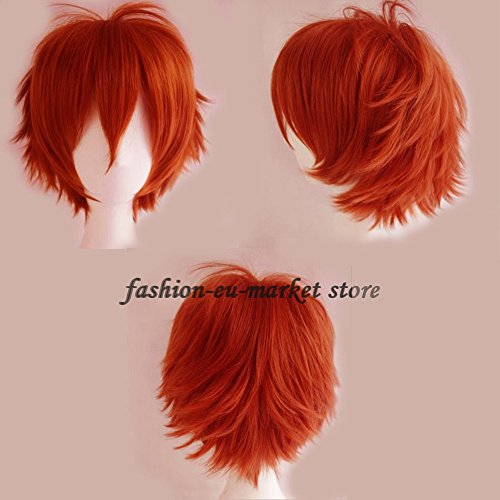 Unisex Short Wig Cosplay Full Wigs Curly Hair Tail Haircut Costume Wigs Fancy Dress Costume Party Christmas Halloween (orange)]()