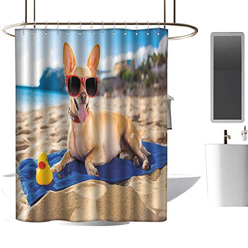 TimBeve Shower Curtain Hooks Funny,Chihuahua Dog at The Ocean Shore Sunbathing Smiling Coastal Charm Print,Sand Brown Light Blue,Hand Drawing Effect Fabric Shower Curtains 72