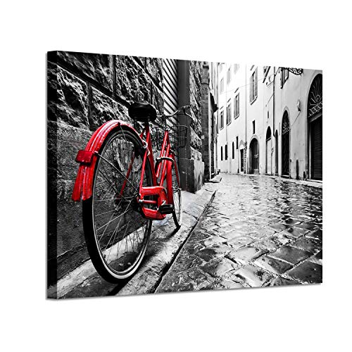 - Cityscape Arts Bicycle Artwork Pictures: Red Bike Graphic Art Print on Canvas