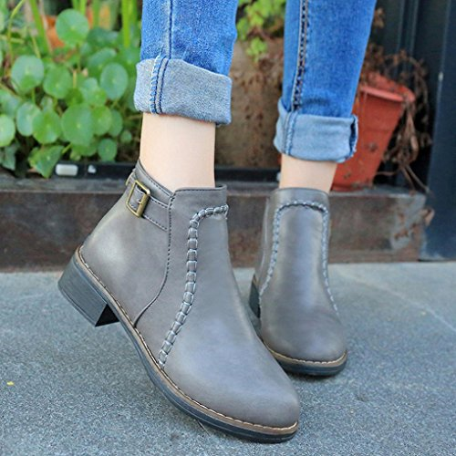 Womens Boots,Clode® Women Lady PU Leather Ankle Boots Comfort Shoes Flats Round Toes Warm Winter Flat Snow Rain Boots Gray