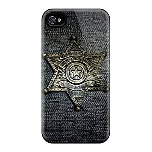 Shock Absorption Hard Phone Cover For Iphone 4/4s With Custom Trendy Sheriff Badge Series KimberleyBoyes
