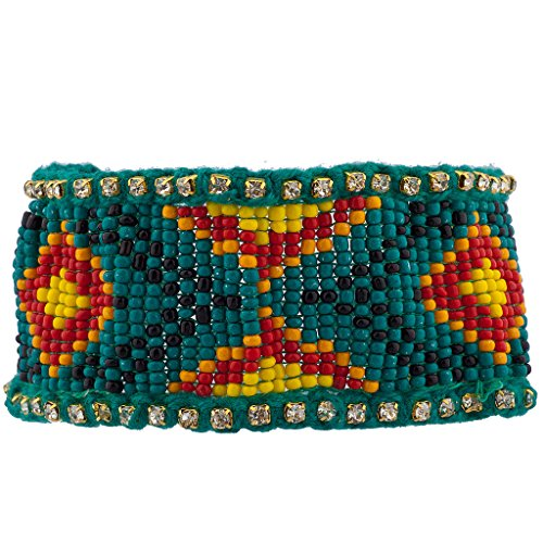 Lux Accessories Teal Large Tribal Patterned Seed Bead Stretch Bracelet from Lux Accessories