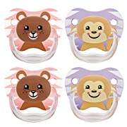Dr. Brown's Classic Pacifier, 6-12m, Animal Faces Pink/Purple, 4 Count