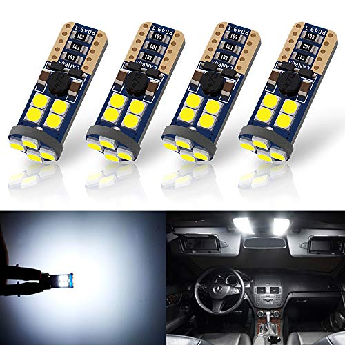 ANTLINE Newest 194 LED Bulb White (4 Pack), 9-30V Super Bright 720 Lumens 168 2825 T10 W5W 175 158 3030 12-SMD LED Lamps for Replacement, Work as Dome Courtesy Trunk License Plate Lights